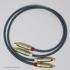 1M RCA Phono Gold Plated Van Damme Pro Cable Pair Hi Fi Interconnect Grey
