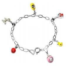 De Buman Sterling Silver Enamel Animal and House Bead fit Bracelet, 8.5 inches