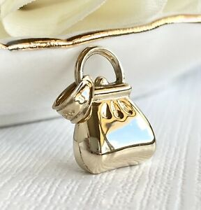 """Solid 14k Yellow Gold Puffy 3D Purse Pendant/Charm, New, 0.76"""""""
