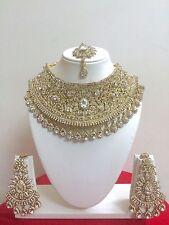 Indiano Bollywood Oro Placcato Nuzzo Bigiotteria Gioielli Collana Orecchini Set