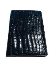 Vintage Glossy Black Crocodile Bifold Wallet