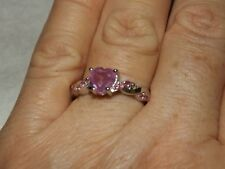 PINK SAPPHIRE & Pink Tourmaline, Sterling Silver Ring Size 8
