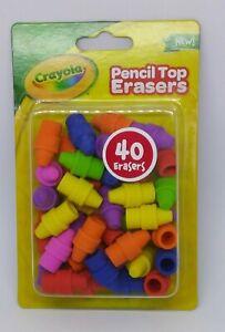 Crayon Pencil Top Erasers, School Supplies Crayola Writing Party Favors 40 Pack