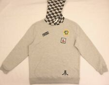 Atari Hodded Sweater L Large Gray Junk Food Video Games Asteroids Centipede Dmg