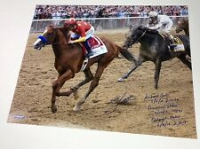 MIKE SMITH Signed Inscribed Belmont Stakes 16 x 20 Photograph STEINER LE 8/18