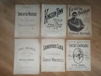 JOB LOT OF 6 VERY OLD VINTAGE ANTIQUE SHEET MUSIC - LOT 2