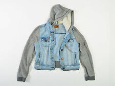 American Eagle Womens Denim Hoodie Jacket Vested Coat Cotton Small