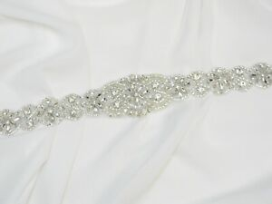 Long Pearl Crystal Rhinestone Beaded Applique for Wedding Dress Bridal Sash Belt