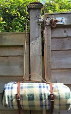 Tan leather Vintage style picnic blanket strap with carry handle &shoulder strap