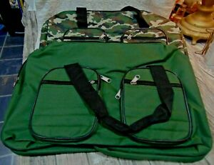 2 Nice New Large Canvas Duffer Travel Bags One Green One Camofluge