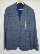 M&S Collezione Mens Single Breasted Linen Miracle Jacket Blue Tailored Size 42M