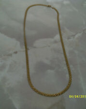 """costume jewellery ladies thick gold colour curb with pattern on chain sz 24"""""""