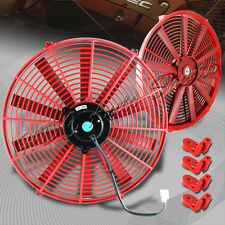 "1 X 16"" Red Electric Slim Push Pull Engine Bay Cooling Radiator Fan Universal 2"