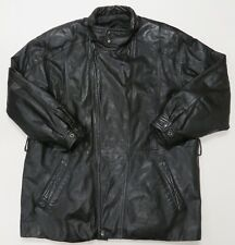 Wilsons Black Leather Jacket Small Mens Long