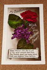 Vintage Postcard: Birthday Wishes for my Dear Daughter, Flowers Bouquet