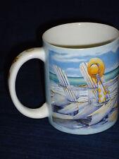 "4"" ceramic OCEAN BEACH Scene MUG by Kathleen Denis SEASHELLS Handle"