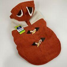 Top Paw Fox Dog Sweater Coat Hoodie Orange Fleece Corduroy New