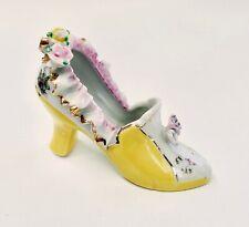 Vintage Porcelain Shoe Figurine Gold Trim Japan Yellow w/ pink ruffles