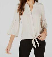 $196 Alfani Women's Beige Washed-Satin Tie-Front V-Neck 3/4-Sleeve Blouse Top L