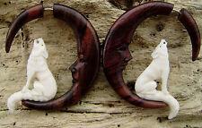 Wolf and moon fake gauge earrings Organic White Bone Earrings  white bone wolf