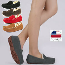 Women's Moccasins Slippers Sheepskin Suede Faux Fur Lined Comfort Slippers