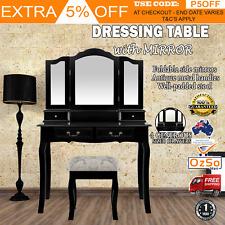 Makeup Table With Mirror Dressing Vanity Desk w/ Drawer Bedroom Furniture Black
