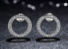 ❤️ New 925 Sterling Silver Sparkling Circle Cz Stud Earrings With Gift Box