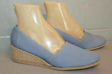 9 N Nos Blue Canvas Vtg 1970s Jute Wrap Wedge Heel Espadrille 70s Slip On Shoe