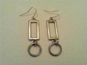 Rectangle and hoop earrings