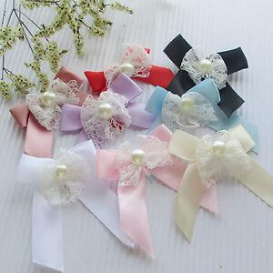 32PCS Ribbon Trim Bows Flowers W/ Rhinestone Appliques Wedding 60MM