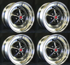"Magnum 500 Wheels 15x7 Set of Complete W/ Caps and Lug Nuts 15""x7"" Red Centers"