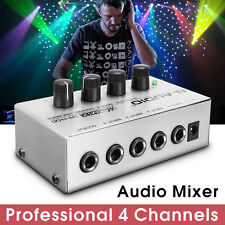 Mono Ultra-compact Low Noise 4 Channel Line Mixing Studio Audio Sound Mixer 12V