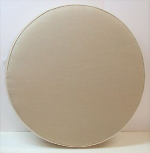 """Frontgate Round Welted Patio Cushion ~ Mushroom ~ 22.5"""" Round x 3.5"""" Thick NEW"""