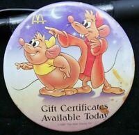 McDonald's Gift Certificates Walt Disney Theme Button Pin Back