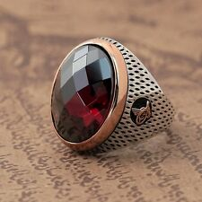 Handmade Turkish Ottoman RUBY Agate STONE 925K STERLING SILVER MEN'S RING