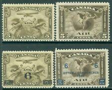 EDW1949SELL : CANADA 1928-32 Scott #C1-4 VF, Mint OG #C2 with pen i.d. Cat $152