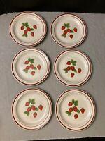 """Lot of 6 Vintage Sango Fujistone Berries Salad Plates 7 1/2"""""""