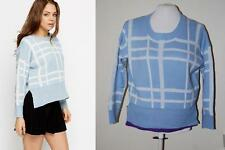 Ladies Blue Knitted Jumper Top Size S/M Sweater Blouse Stripes Check Cardigan