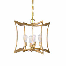 Gold Leaf Open Frame Pendant Chandelier Fixture 4 Antique Style Bulbs Included
