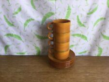 More details for vintage arcopal volcan france espresso coffee cups and saucers - retro style