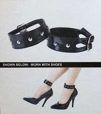 Pleaser Black Leather Studded Ankle Cuffs Goth Rock Steampunk