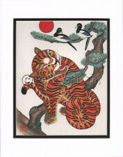 Korean Art Rice Paper Print Magpie Tiger Matted #003r