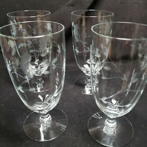 4 Princess House Heritage Crystal Iced Tea Glasses Can be Water too