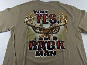NEW Buck Wear I Am Rack Man Deer Rack Antlers Men Brown T Shirt Hunting