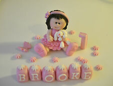 EDIBLE PRINCESS CHRISTENING BABY GIRL TEDDY BIRTHDAY CAKE TOPPER DECORATION