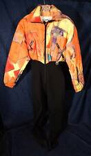 Stunning Multi-Colored Abstract Modern Art  NILS Stirrup Ski Snowsuit Sz 8