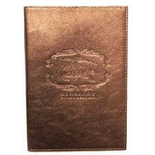 $250 BURBERRY METALLIC BRONZE LEATHER NOTEBOOK IN BOX
