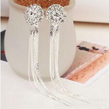 Vintage Charm Dangle Drop Lady Women Earrings Crystal Silver Tassle Bridal Stud