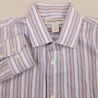 Banana Republic Men's Button Up Shirt Long Sleeve Size Medium Striped Blue Brown