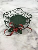 Metal Christmas Pillar Candle Holder Green Red Ribbon Holly Holiday Home Decor